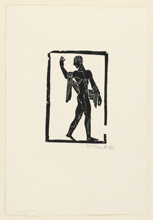 Nude male figure, in black, walking to the right, his head turned over his left shoulder. Left arm is upraised. Enclosed in black border.