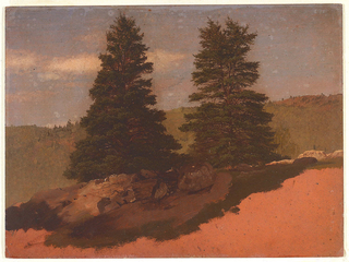Drawing, New England Landscape (Two Pine Trees)