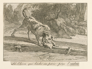 Horizontal rectangle. Scene from La Fontaine's fable, showing a dog standing on a plank bridge, a piece of meat in his mouth, regarding his reflection in the water.