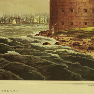 "Horizontal rectangle.  Panorama of the city in the background.  A section of Governor's Island in the foreground, right, showing part of Castle Williams.  Below, center:  ""New York, From Governor's Island / No. 20 of the Hudson River Port Folio. / Published by Henry I. Megarey New York."" At lower left:  ""Painted by W. G. Wall.""   At lower right:  ""Engraved by I. HIll."""