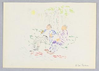 Drawing, Scene in Washington Square Park