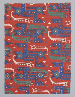 Fragment showing a stylized serpent pattern in red, blue and green. Design inspired by motifs found on the textiles of mummy bundles from the Bolivian Andes.
