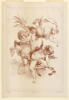 Three putti play about a sheaf, all in the air, and with ribbons.