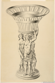 Openwork basket supported by the Three Graces on a circular base.