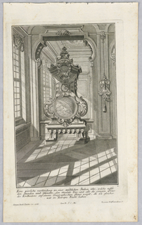 Plate 1. Design for a large, free standing case clock, placed centrally in front of a wall size mirror. Window at left.