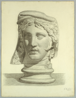 """Vertical rectangle. The head is seen turned slightly to the left, and rests on a socle. Signed (in charcoal), lower right: """"P. Montana / Mar. 1910""""."""