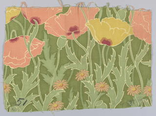 Large poppy heads in coral and yellow on wavy stems and foliage in two shades of green, with white outlines, with a few pink daisies. Slightly ribbed fabric.