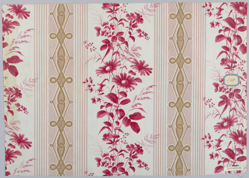 "Two pieces, same design, different colors. A) White ground with broad stripes made of pin stripes of minute bars in rose color, centre area in minute zig-zag with elongated interlace in brown; in white area, sprays of field flowers in shades of red, block-printed or surface roller. Ground probably ""molette."" B) Same design in blue. Glazed."