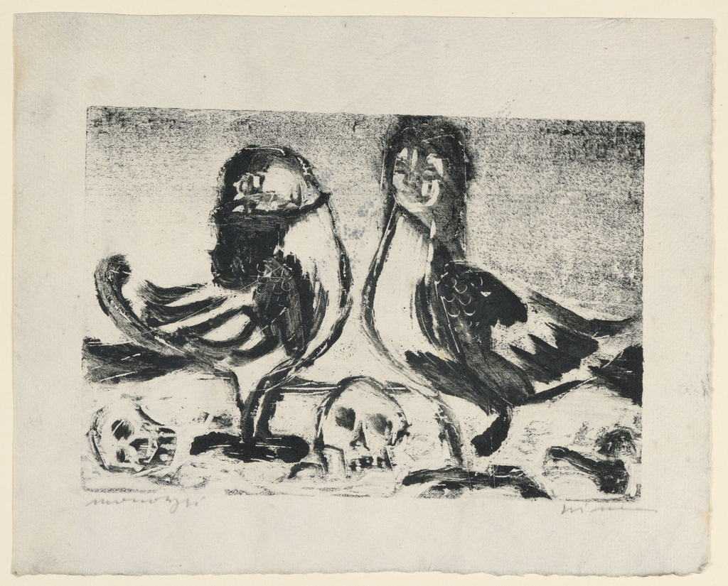 Two of the part bird, part woman creatures are shown facing each other. Two skulls in foreground.