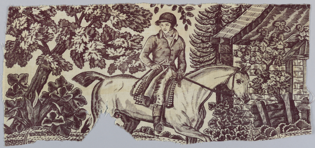 Fragment shows a man on horseback with hounds. In purple on white.
