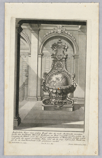 "Plate 3. Design for a large, free standing case clock which features a globular model of the constellations of the night sky. Inscribed at top of clock: ""1724 Iunius 21"" and ""coelli enar rant gloriam Dei"""