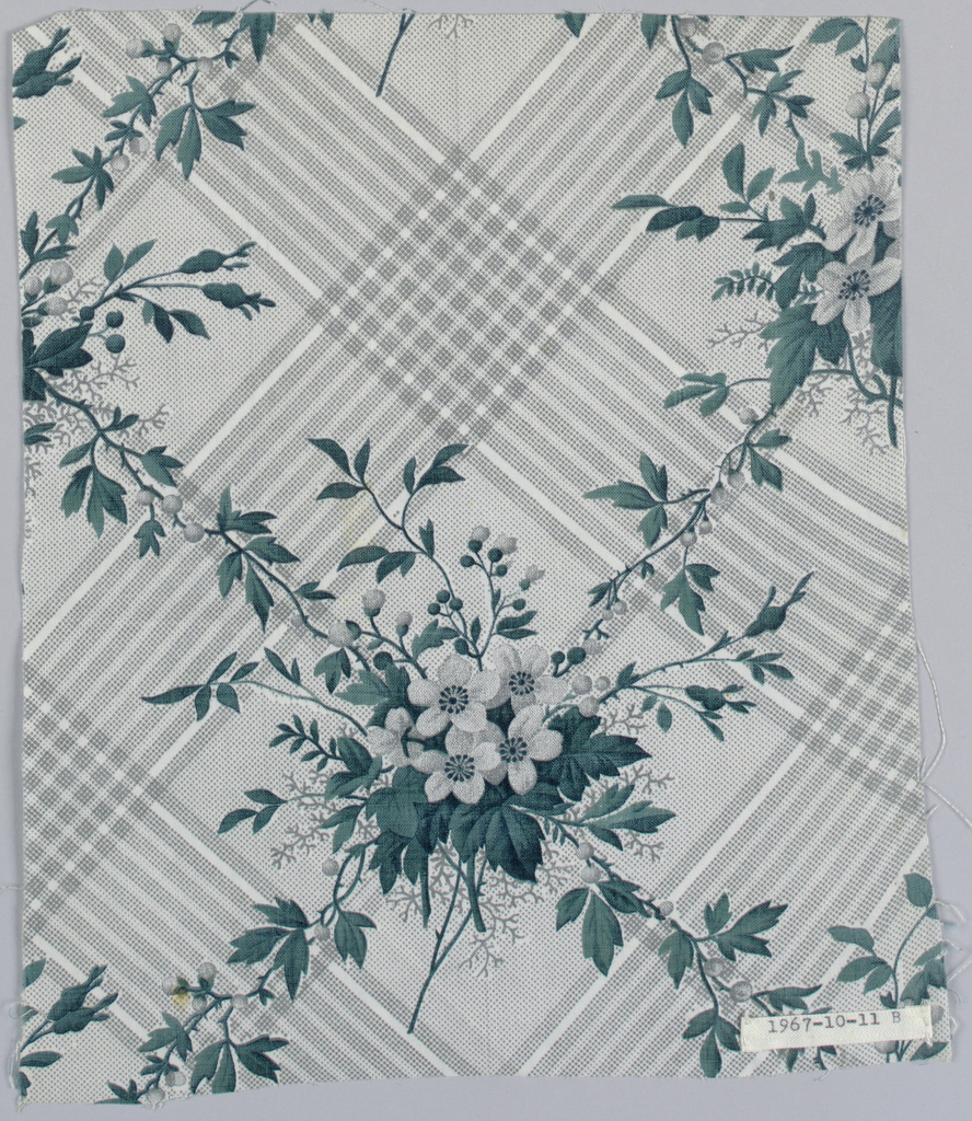 """Seven pieces, same design, different colors. A) Ground printed by """"molette"""" in diamond-shaped design of stripes composed of minute dots in pale blue. Flower clusters in rose and dull greens, printed over background. B) Grey ground and flowers, strong green leaves. C) Grey ground, flowers old rose with green foliage. D) Grey ground, blue flowers, grey foliage. E) grey ground, grey flowers, blue-green foliage. F) lighter grey ground, flowers with strong green foliage. G) Greey ground, blue flowers, green foliage."""