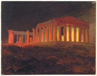 Drawing, Parthenon at Night, Athens