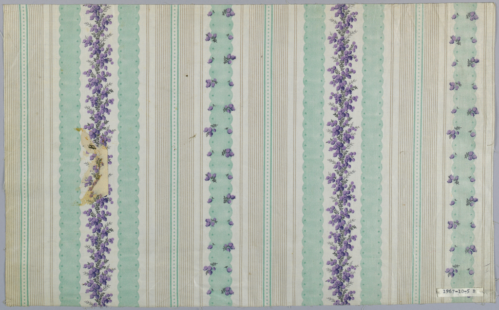 Two fragments, same design in different colors. A) Ground striped in blue-grey and fine tan stripes; small scale pattern of vine with grey berries. B) Same with green stripes and berries in lavendar. Glazed.