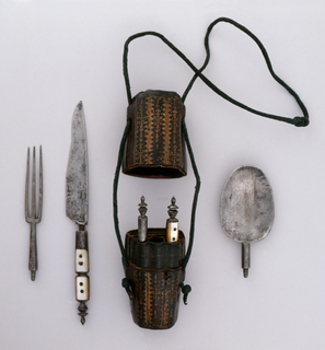 Small case for six implements, stamped leather with scrolled decoration in gold. Case consists of two parts, body and lid, held together with a cord. Includes: steel oval rat-tail spoon bowl with round neck and screw-thread; plain steel straight handle with finial on top, can be crewed on to spoon bowl; waisted steel knife handle inlaid with mother-of-pearl, four rivets and finial on top, handle can be screwed on blade; steel knife blade with slightly curved upper edge, lower edge curving towards point, crew thread at the end of the blade; steel waisted fork handle inlaid with mother-of-pearl, four rivets and finial on top of handle, can be screwed onto fork; and fork with three straight tines, rounded shoulders and plain tapering neck with screw thread.