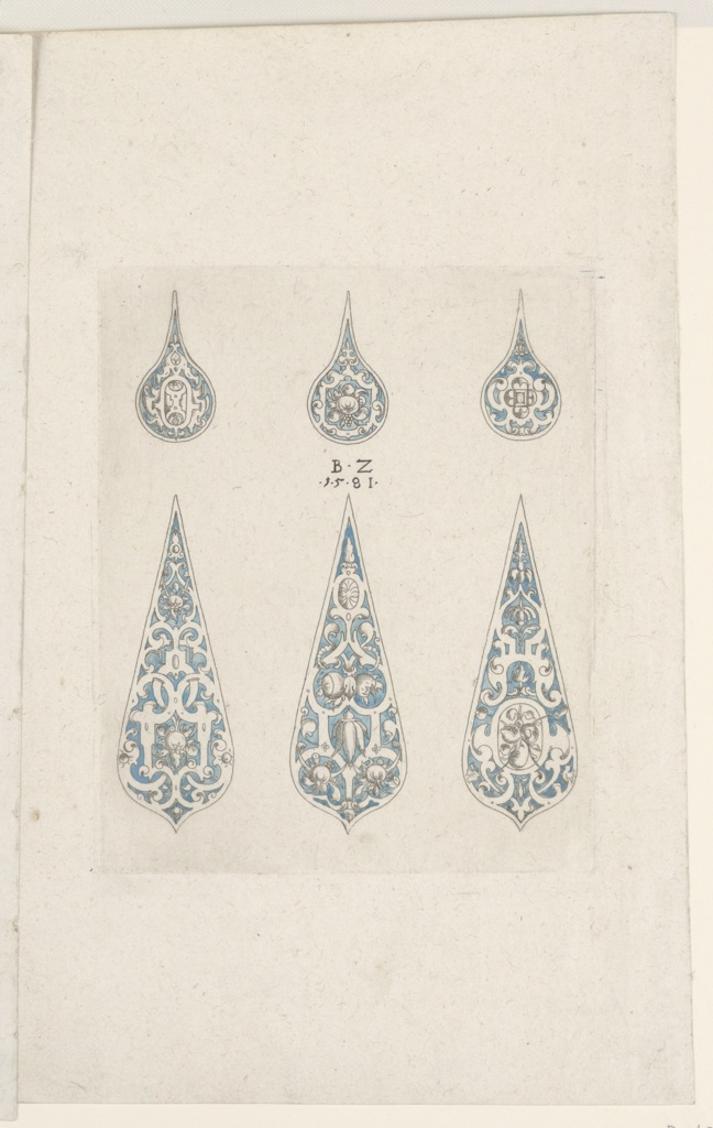 Designs for six tear drop pieces of metalwork ornament in two rows of three intended for production of a columbine cup (Ackleibecher) or goblet. Each design features strapwork arabesques. Some feature clusters of fruit or jewels.