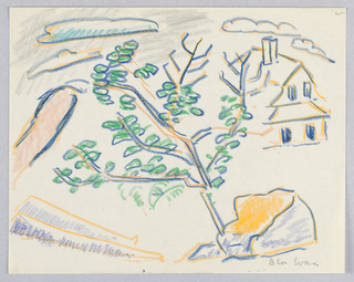 Drawing, Tree, House, and Clouds, Rockport