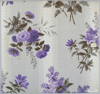 Two samples with same ground design, printed in different color patterns. Ground, broad grey stripe of minute wavy lines alternating with white stripe with foliage edge. A) Sprays of lilac, azalea and asters in violet. B) Same flowers in grey. Glazed.
