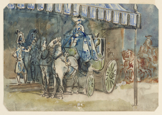 Horizontal rectangle, bevelled corners. A green brougham, surmounted by a coronet, the carriage drawn by two white horses and driven by a coachman in court livery -- blue livery and trappings -- standing under a blue and white awning with liveried guards by the door.
