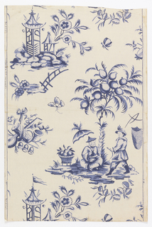 Chinoiserie; Chinese figures and scenes printed in shades of blue on blue- dotted cream ground.