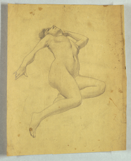 Reclining female nude shown from the front. The head is dropped back; both legs bent toward left side, left arm bent so that hand rests behind head; right arm is resting and extended toward left.