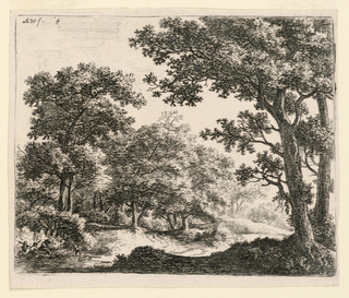 In a wooded landscape, a small pond at left foreground where some figures gather.