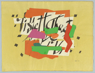 "Abstract designs Ulfert Wilke (1907– ) Variations on ""The best is yet to be,"" A: Horizontal rectangle on yellow paper, signed and dated, unmounted"