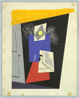 Drawing, Design for a Composition with Abstract Figure and Gray Door