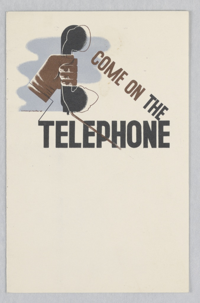 Design for the cover of a booklet for the British General Post Office, featuring the department's telephone services. On a white ground, a hand holding a black telephone receiver against a blue ground with text in brown and black: COME ON THE / TELEPHONE.