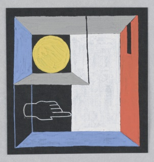 Study for an Exhibition Annoucement for Shell-Mex and BP Ltd. A box with red, grey, blue walls containing a yellow circle and an outline of a white hand.