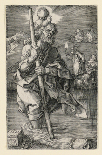 St. Christopher in the foreground, fording the river, moving toward the right. The infant Christ, whom he carries on his shoulders, raises his right hand in benediction.