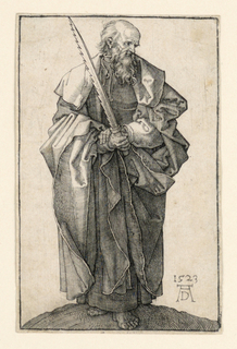 """The full-length figure of the bearded saint is shown standing, facing the spectator, his head turned toward the right, in profile. His hands are crossed in front of him, the right hand holding an upraised sword. Neutral background. Monogram of the artist, and the date, """"1523"""", lower right."""