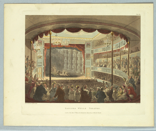 Horizontal rectangle. Theater seen facing the stage from the rear. Balconies and floor filled with people. Neptune in his chariot and horses, in water, on stage. Title, artists' and publisher's names below.