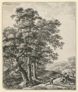 Print, Venus and Adonis with Cupid in a Landscape