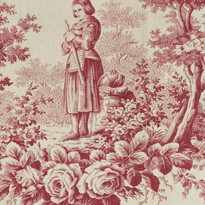 Joan of Arc wearing armor and holding a sword in a leafy landscape. In red on white.