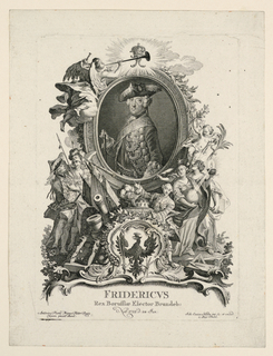 """An ovoidal painting of the of the king rises over the Prussian eagle, allegorical figures, weapons, and references to the Arts. A genius flies top left. Caption: """"FRIDE-RICVS / Rex-Borussiae Elector Brandeb: Nat 1712. d. 24. Jan. / Antonius Pesne Primus Pictor Regis / Efigiem pinxit Berol[isae]""""; """"Joh. Esaias Nilson inv. Sc. Et excud. / Aug. Vindel."""""""