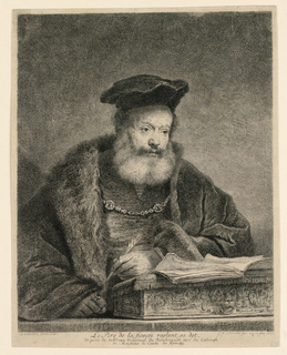"An old bearded man in frontal view, slightly turned to right. Inscribed, lower left: ""Rembrandt pinx 1641""; lower center: ""Le Pere de la fiancée reglant sa dot, d'aprés le tableau original de Rembrandt tiré du Cabinet e Monsieur le Comte de Kameke""; lower right: ""G. F. Schmidt fec. acqua - for. 1770."""