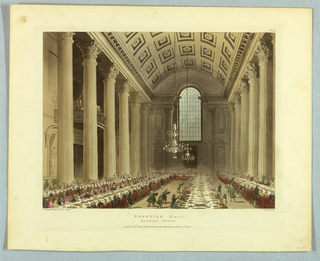 High vaulted hall, with coffered ceiling and Corinthian pillars. Long banquet tables; waiters in green uniforms. Title, artists', and publisher's names below.