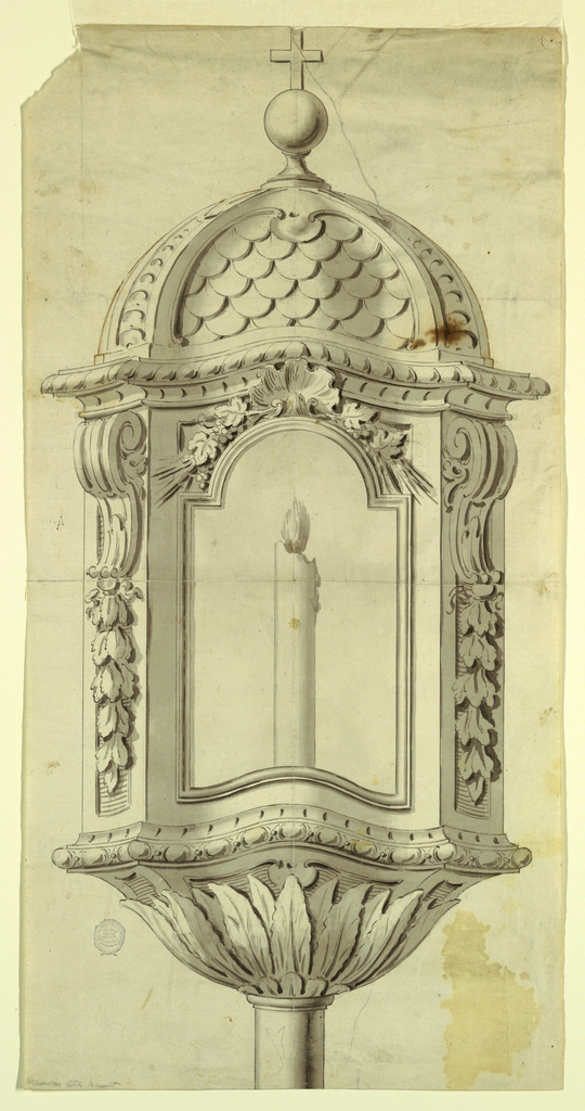 Design for a lantern. The burning candle is visible at front. The short oblique sides are decorated with garlands hanging from volutes. The upper part has the shape of a dome with a sphere and a cross on top.