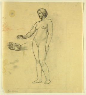 Nude study of standing female figure, facing left, with right hand raised at waist-height. Right hand repeated, at left.