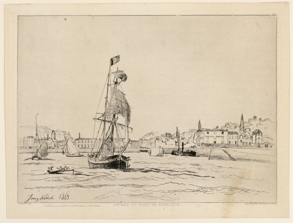 "A harbour view. a large sailing ship in foreground; at left, a row boat; in mid-center, two sailing boats. In the background are houses with a hill at left, trees behind. Inscribed, lower left: ""Jong-kind 1863""; below, on margin: ""Entree du Port de Honfleir""; lower right: Delâtre... Paris."