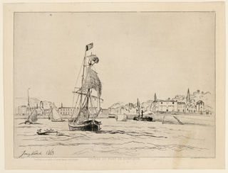 """A harbour view. a large sailing ship in foreground; at left, a row boat; in mid-center, two sailing boats. In the background are houses with a hill at left, trees behind. Inscribed, lower left: """"Jong-kind 1863""""; below, on margin: """"Entree du Port de Honfleir""""; lower right: Delâtre... Paris."""