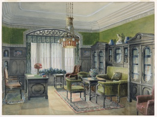 A truly eclectic style of decoration prevails in this New York City library. The placement of the settee, recessed into a bookcase, is typical of the Aesthetic Movement. The green and yellow printed upholstery fabric reflects the designs of William Morris, as do the window drapery and valance. The chandelier has elements of the Gothic Revival style; however, the desk lamp looks toward Art Nouveau. Hydrangeas at the window; a floral arrangement on the sofa table; and porcelains, glass and sculptures are common features of the Victorian period.
