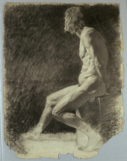 Older, nude male figure is shown seated, facing left, with hands behind his back.  Dark background.