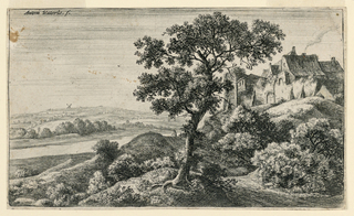 Wooded landscape scene with large tree in foreground, center. Large farmhouses on a hill, at right. A road between hill and tree along which a figure walks. A river, at left. A mill at horizon.