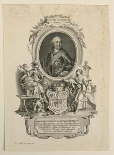 Writing in print includes: SERENISSIMvS PRINCEPS IOANNES FRIDERICVS. l.l. I.E.Nilson, inv. et sculpe: A.V.
