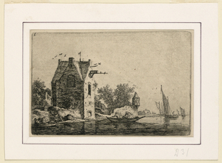 A small, dilapidated, sea-side watch-tower at center, mid-distance, with trees behind. Boats on water before the tower. At left, an old, square storage house with a boat going towards it. At lower left, another boar. A man on shore at left.