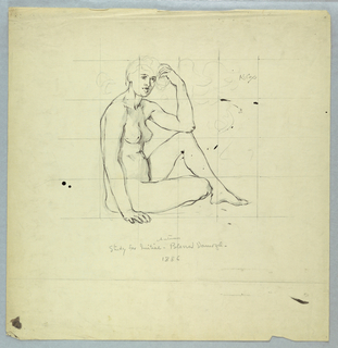 Nude female figure, seated on ground, facing right, with left elbow resting on left knee. Squared for transfer.