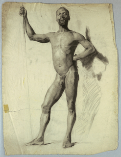 Nude study of man standing, facing frontally, holding a staff in his right hand.  His left hand rests above his hip, with his elbow out, away from his body.