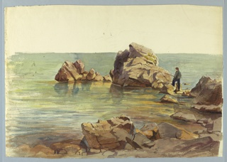 Sketch of a figure fishing off of a rock jetty.